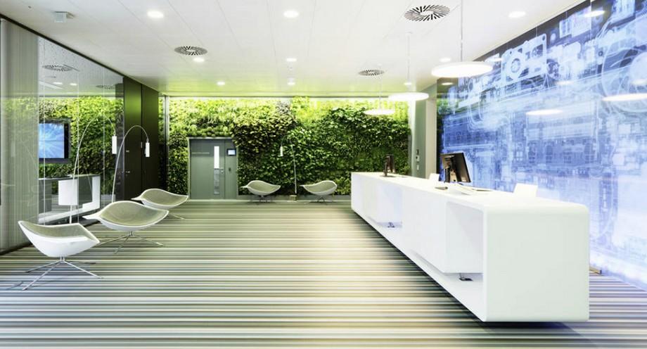 Thiết kế sảnh văn phòng xanh