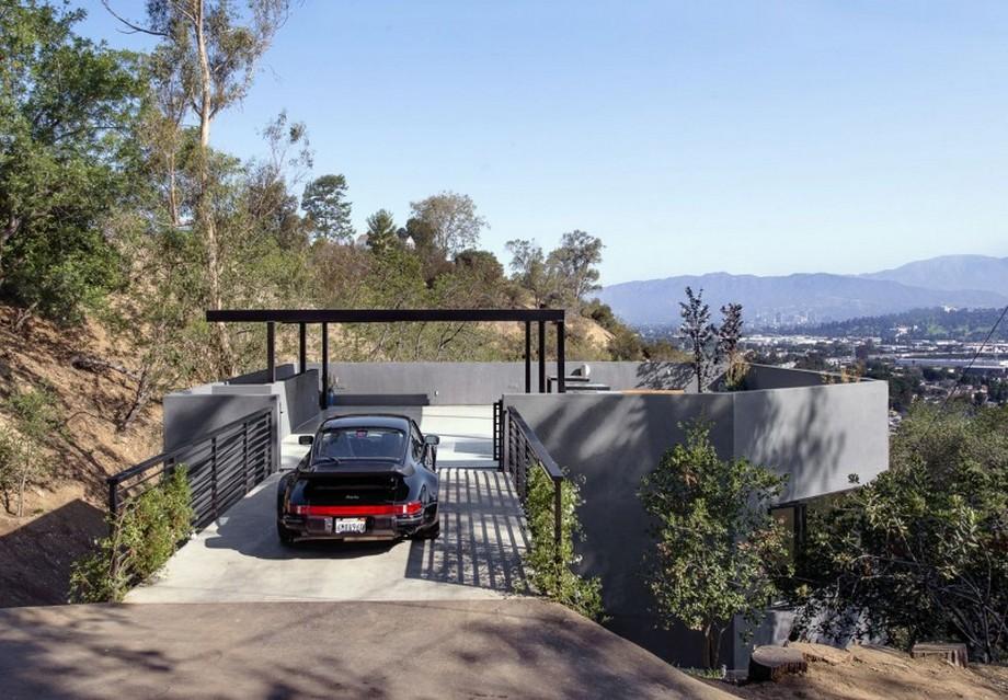 Thiết kế nhà ở thông minh với bãi đậu xe trên tầng thượng ngôi nhà