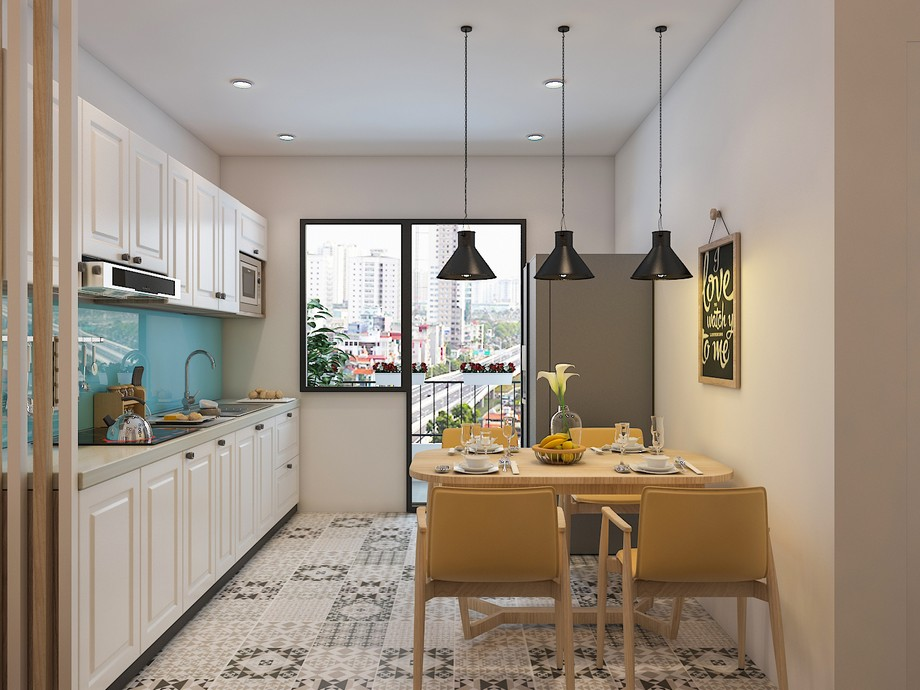 Thiết kế bếp nhà chung cư đẹp nhất 2019 phong cách Bắc Âu
