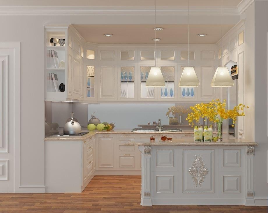 Thiết kế phòng bếp nhà chung cư đẹp nhất 2019 phong cách tân cổ điển