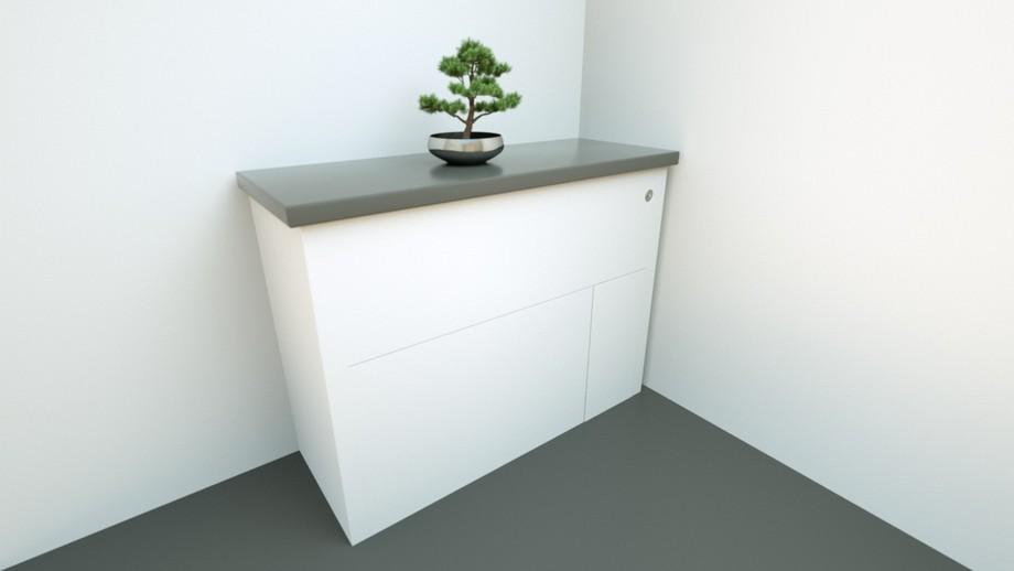 Mẫu bồn cầu ẩn thông minh mang thương hiệu Hidealoo được thiết kế bởi Monty Ravenscroft khi ẩn là chiếc tủ thấp