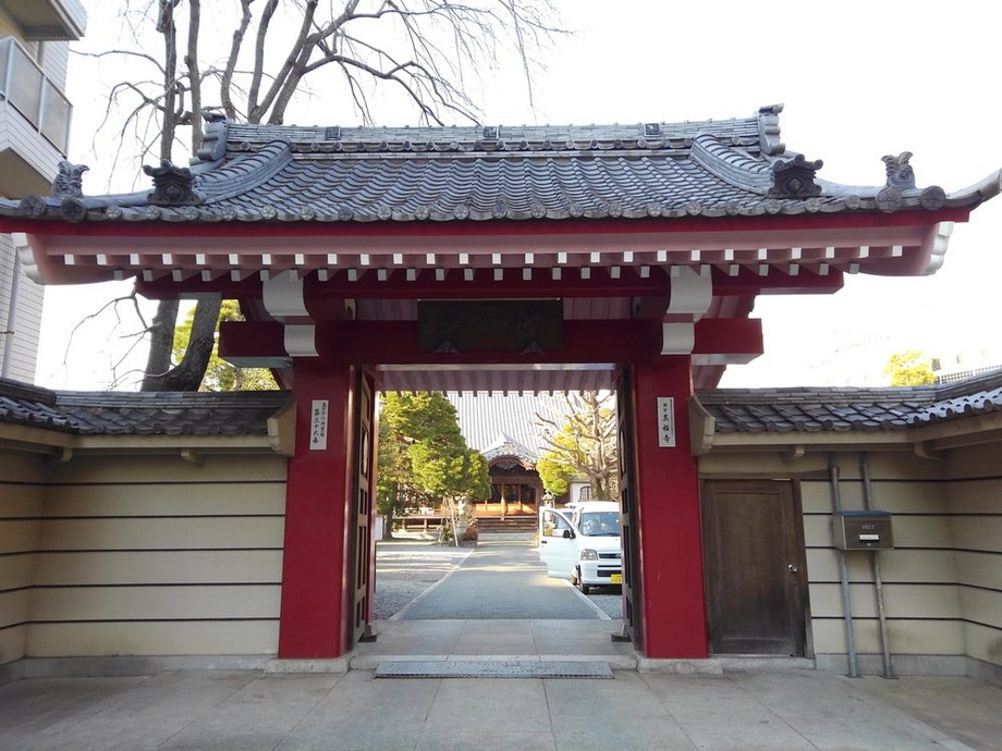 Cổng chùa Nhật Bản 1 lối vào sơn đỏ