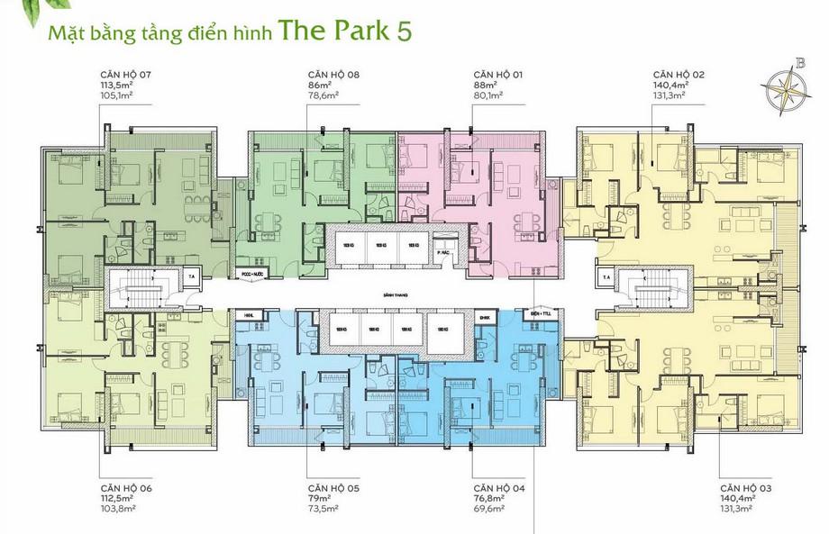 Thiết kế nội thất chung cư - mặt bằng The Park 5 Vinhomes Central Park