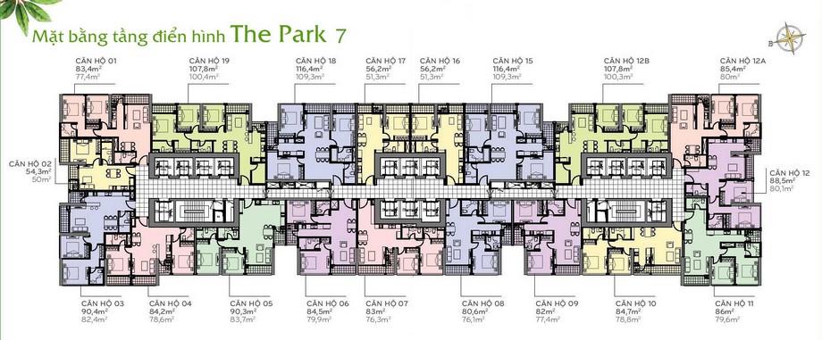 Thiết kế nội thất chung cư - mặt bằng The Park 7 Vinhomes Central Park