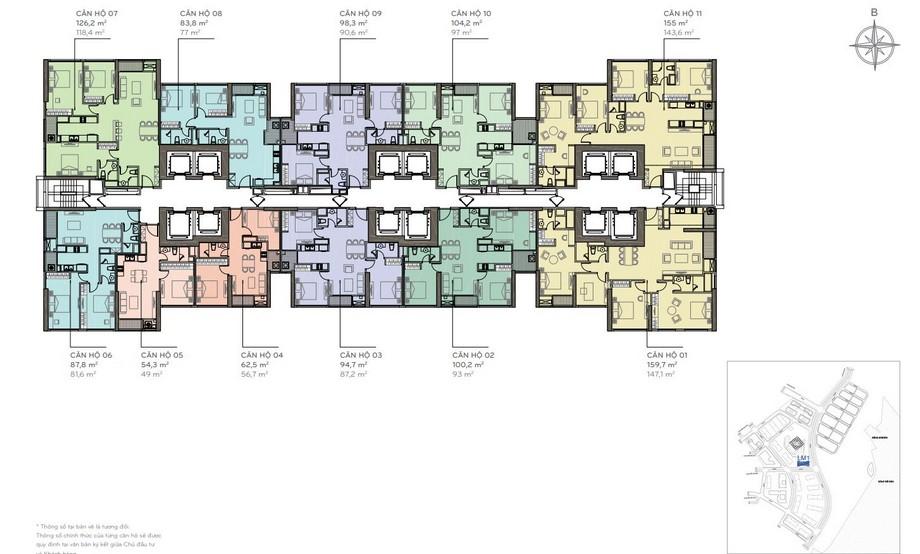 Thiết kế nội thất chung cư - mặt bằng The Lamdmark 1 Vinhomes Central Park