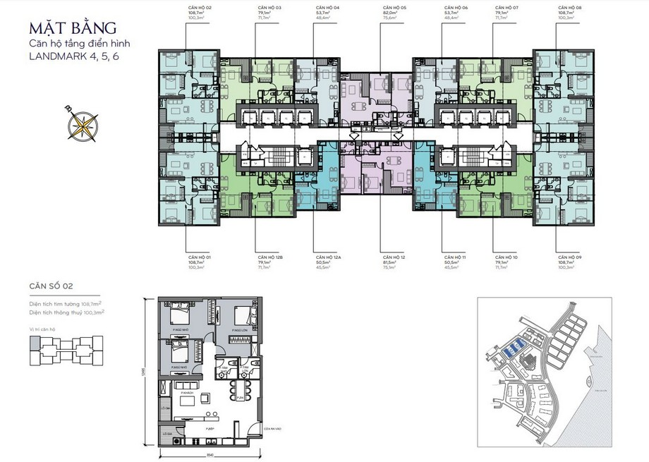 Thiết kế nội thất chung cư - mặt bằng The Lamdmark 4,5,6 Vinhomes Central Park