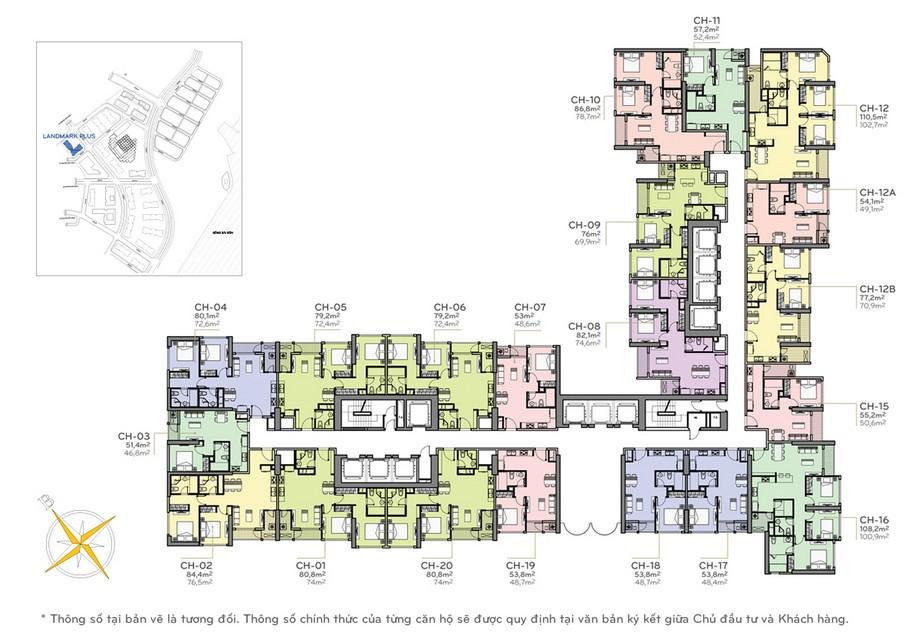 Thiết kế nội thất chung cư - mặt bằng The Lamdmark Plus Vinhomes Central Park