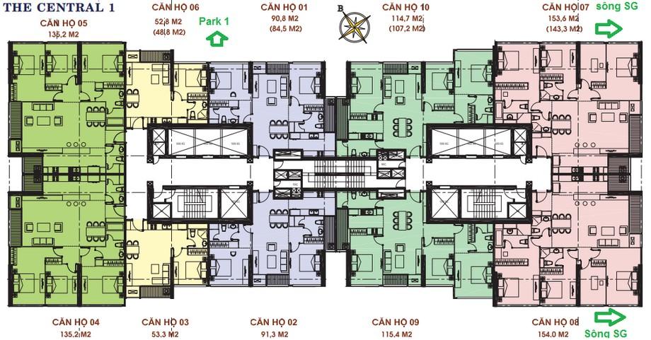 Thiết kế nội thất chung cư - mặt bằng The Central 1 Vinhomes Central Park