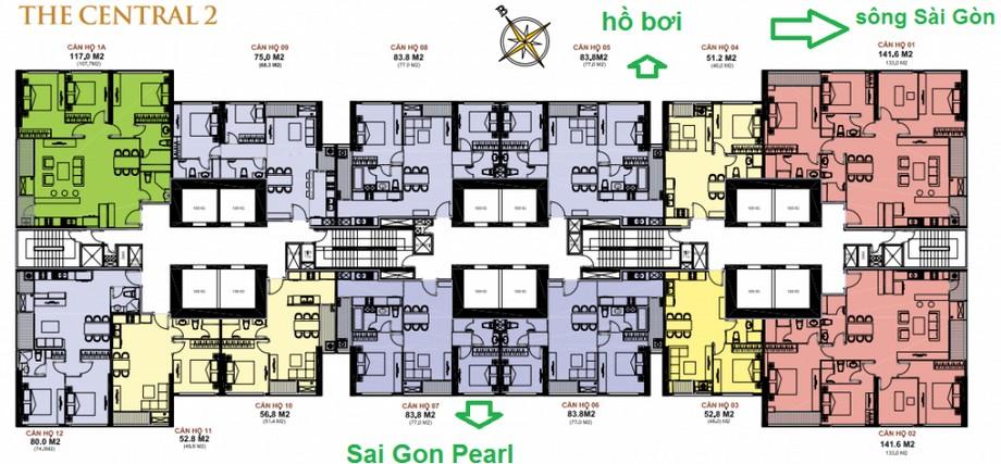 Thiết kế nội thất chung cư - mặt bằng The Central 2 Vinhomes Central Park