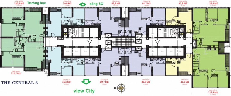 Thiết kế nội thất chung cư - mặt bằng The Central 3 Vinhomes Central Park
