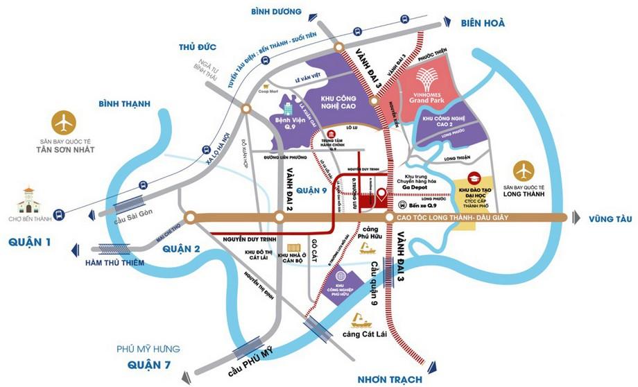 Vị trí dự án đô thị Vinhomes Grand Park đặc địa tại quận 9