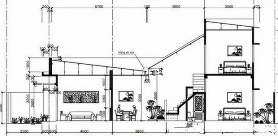 Mặt cắt mẫu thiết kế nhà cấp 4 diện tích 5x10m