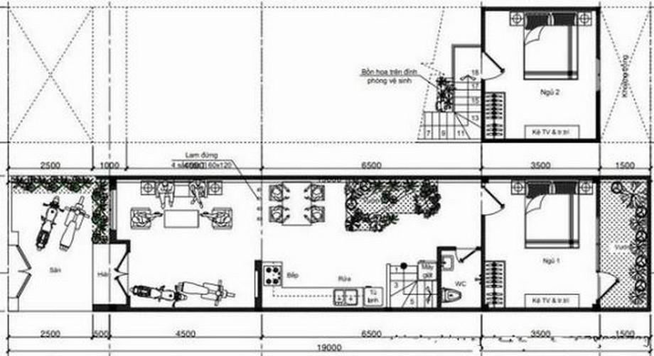 Mặt bằng mẫu thiết kế nhà cấp 4 diện tích 5x10m