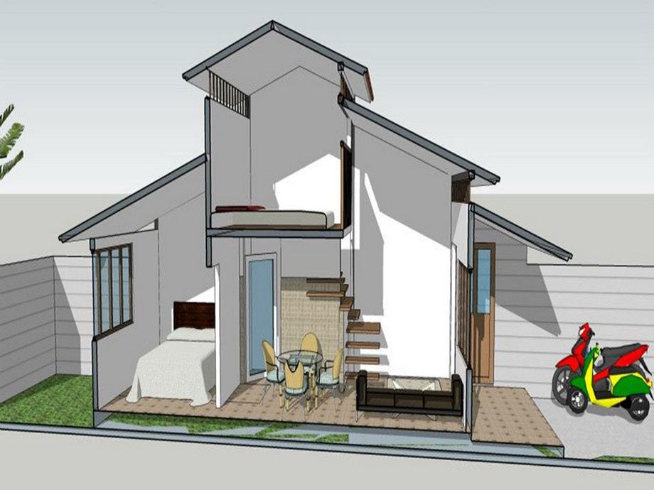 Mặt cắt mẫu thiết kế nhà cấp 4 diện tích 5x10m đẹp
