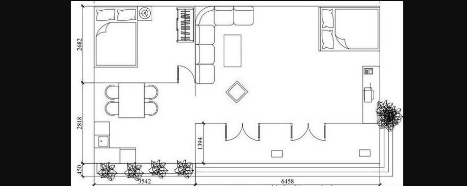 Mặt bằng mẫu thiết kế nhà cấp 4 diện tích 5x10m với mái tôn màu xanh