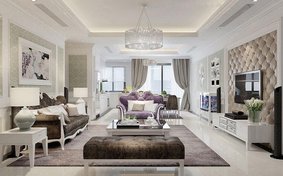 Thiết kế nội thất phòng khách chung cư tân cổ điển 100m2 sang trọng