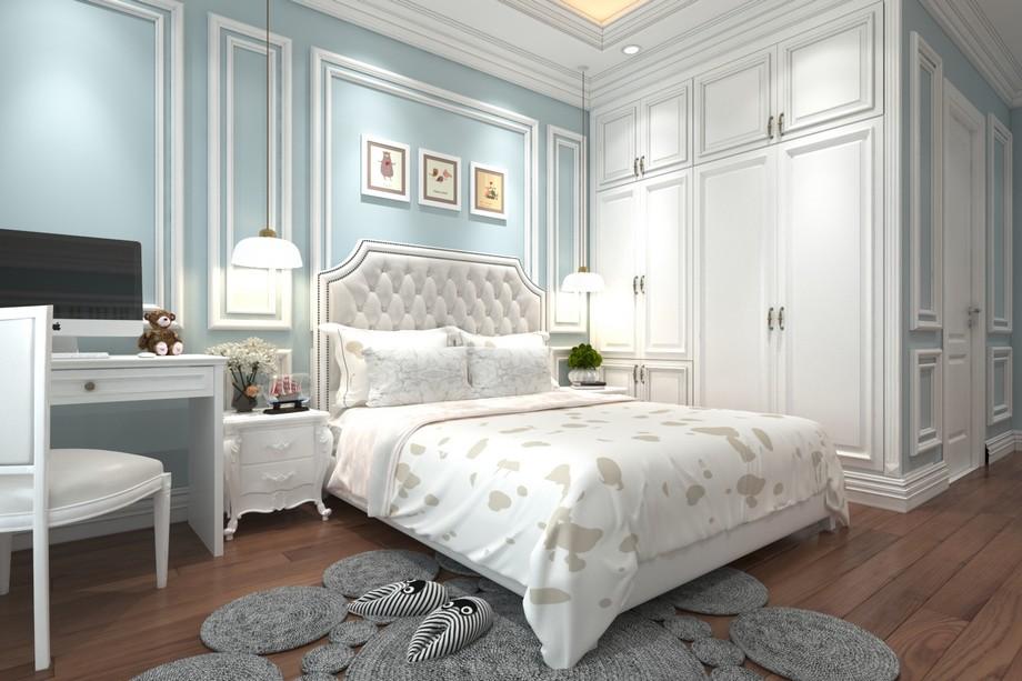 Thiết kế nội thất phòng ngủ bé chung cư tân cổ điển 100m2 tông màu xanh pastel cuốn hút