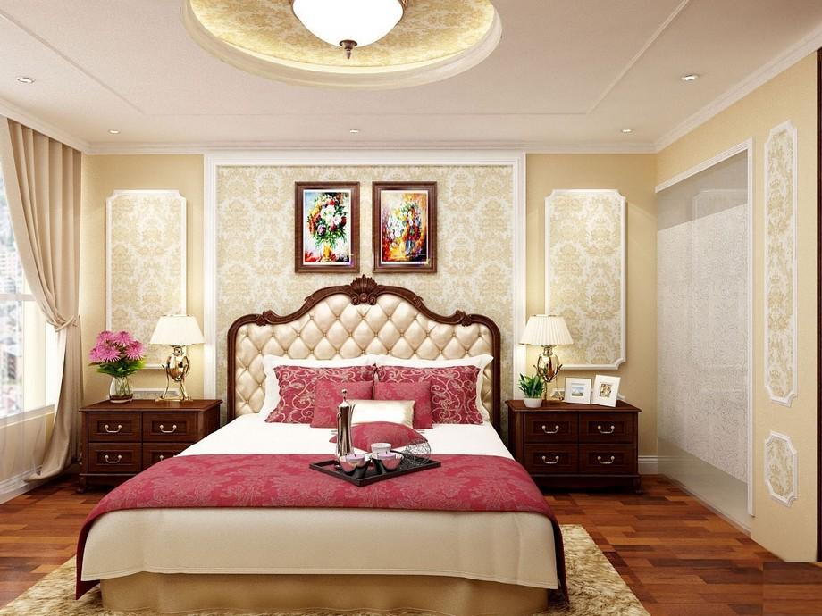 >Thiết kế nội thất phòng ngủ master chung cư tân cổ điển 100m2 tông màu vàng và nâu sang trọng