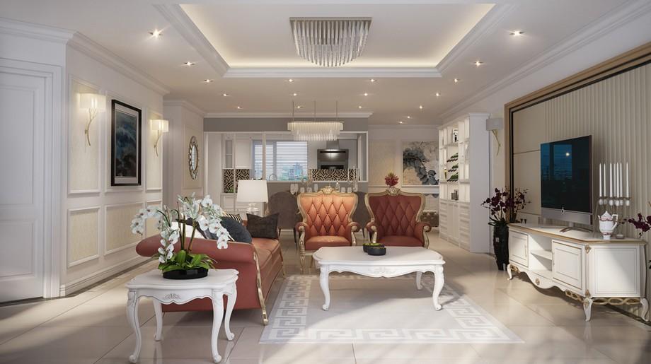 Thiết kế nội thất phòng khách chung cư tân cổ điển 100m2 với ghế sofa màu pastel ấn tượng