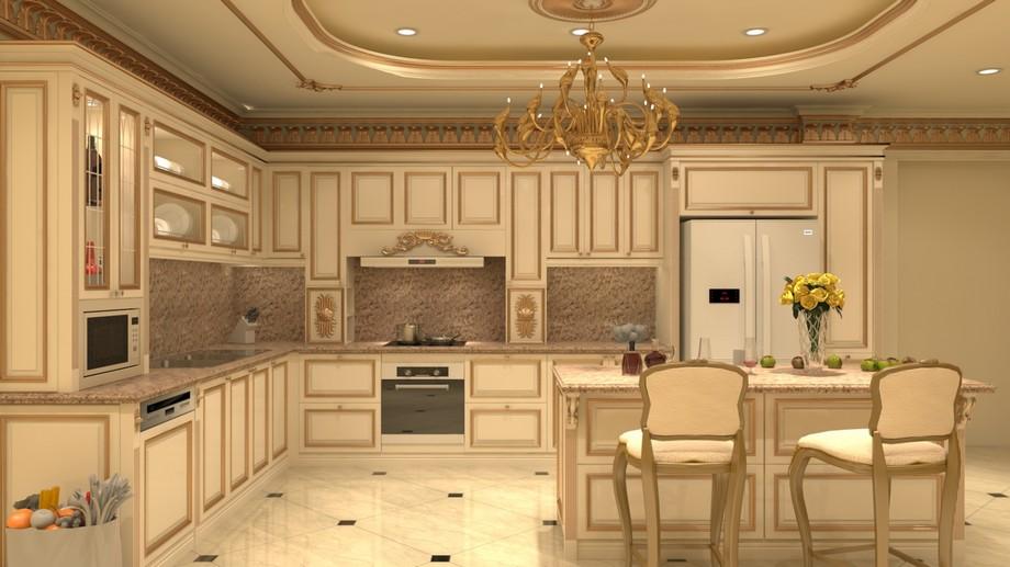 Thiết kế nội thất phòng bếp chung cư tân cổ điển 100m2 với tủ bếp chữ L và bàn đảo lớn