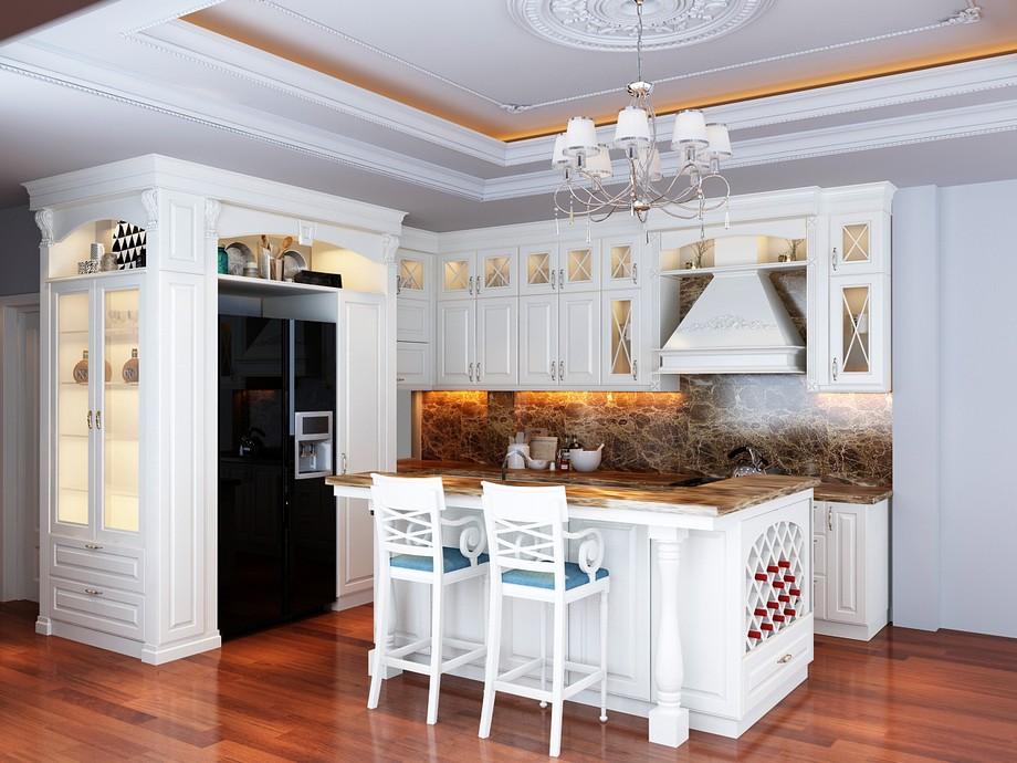 Thiết kế nội thất phòng bếp chung cư tân cổ điển 100m2 với tủ bếp chữ L kèm bàn đảo sơn trắng thanh lịch