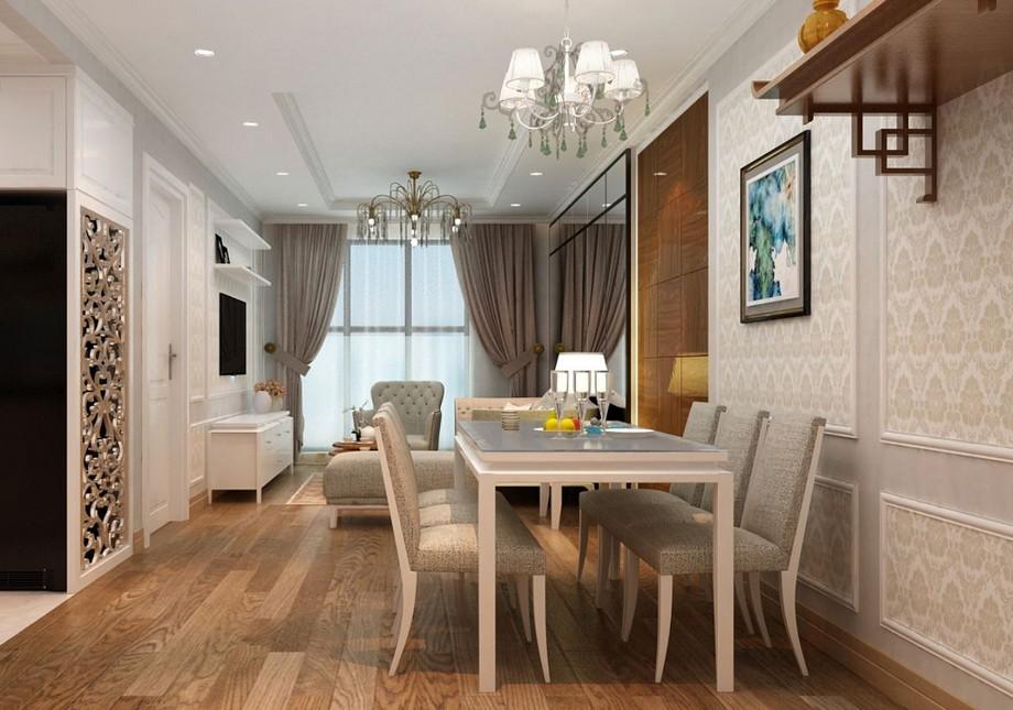 Thiết kế nội thất phòng ăn chung cư tân cổ điển 100m2 với bộ bàn ghế ăn uốn lượn nhẹ nhàng