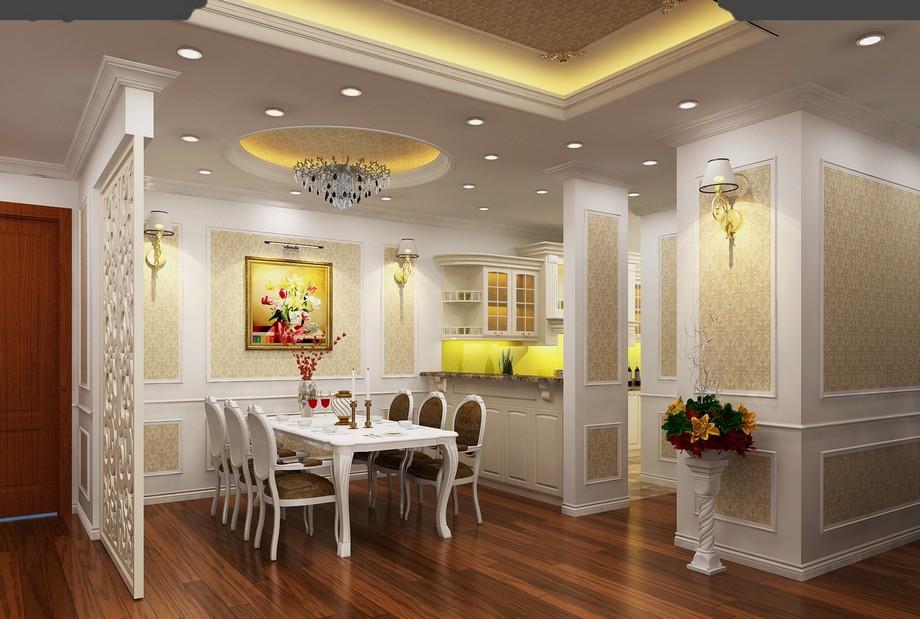 Thiết kế nội thất phòng ăn chung cư tân cổ điển 100m2 với bộ bàn ghế ăn được thiết kế uốn cong mềm mại