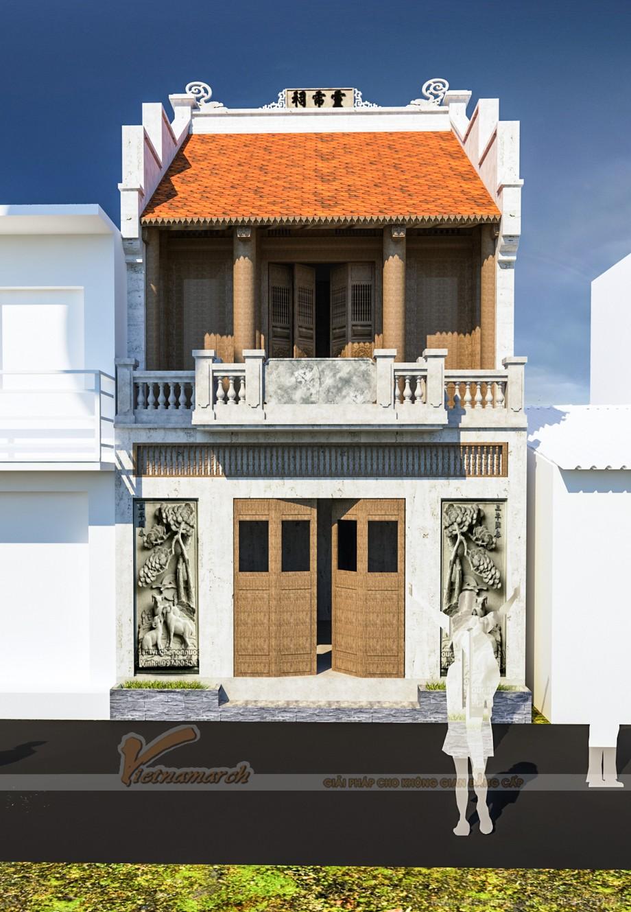 Thiết kế mẫu nhà thờ họ 2 tầng đẹp