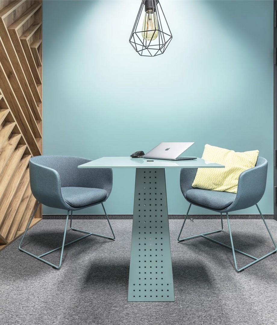 Thiết kế nội thất văn phòng phong cách hiện đại với các gam màu xanh pastel