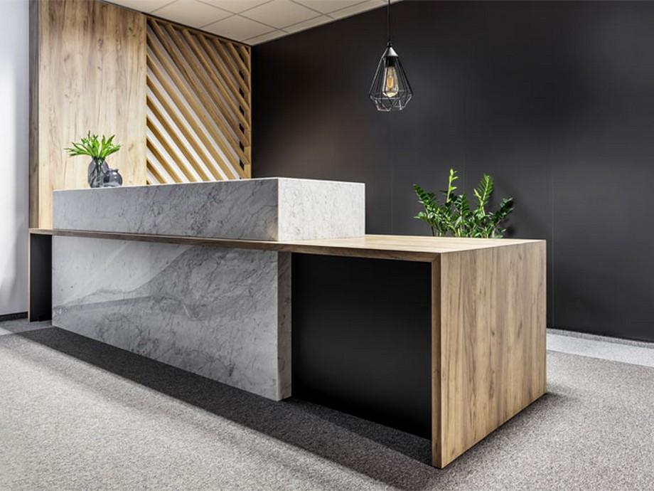 Thiết kế nội thất văn phòng tại Ba Lan phong cách hiện đại khu vực lễ tân