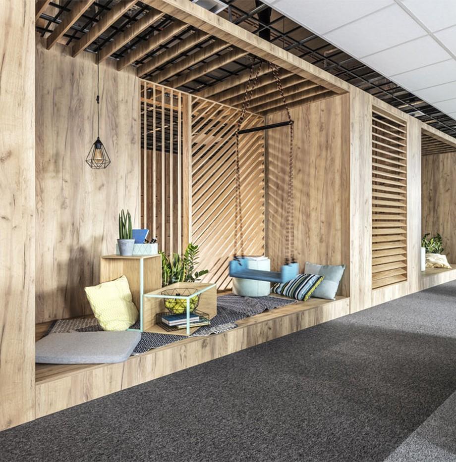 Thiết kế nội thất văn phòng tại Ba Lan với các khoang dành cho họp nhóm nhỏ