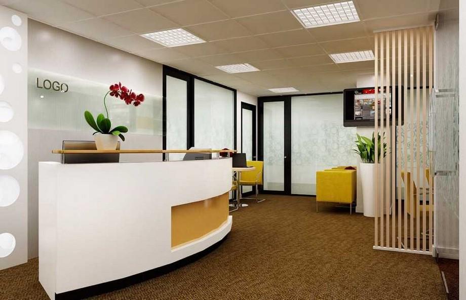 Thiết kế văn phòng 60m2 với khu vực lễ tân, khu tiếp khách nhỏ nhắn, xinh xắn