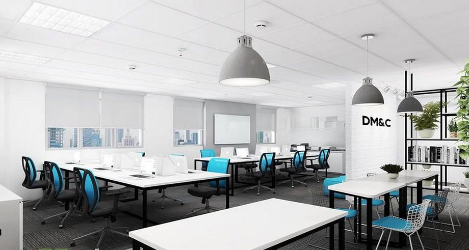 Thiết kế văn phòng 60m2 hiện đại với gam màu trắng sáng sủa