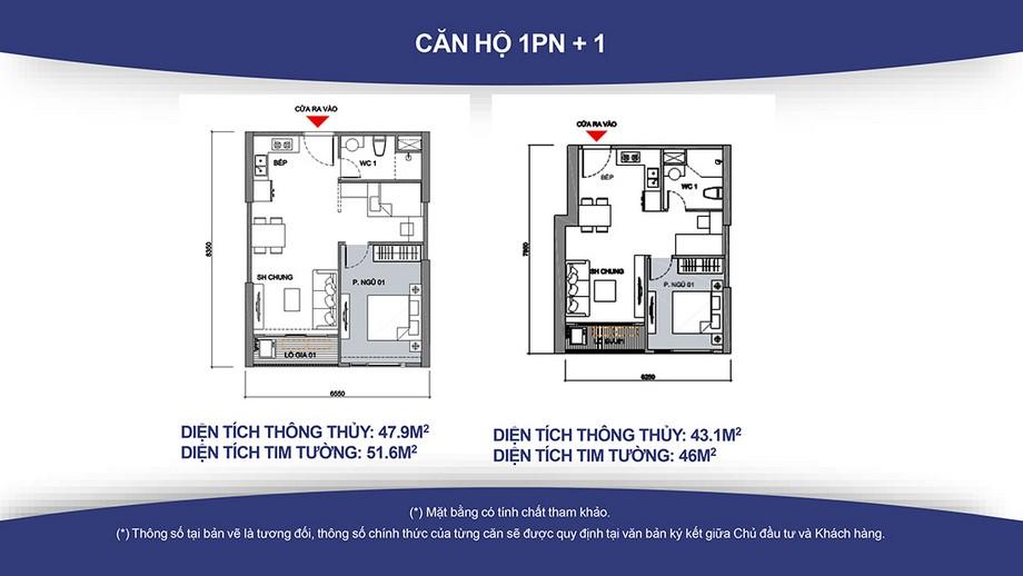 Thiết kế nội thất chung cư Căn hộ 1PN+1 dự án Vinhomes Smart City ( Diện tích từ 46 – 52m2)