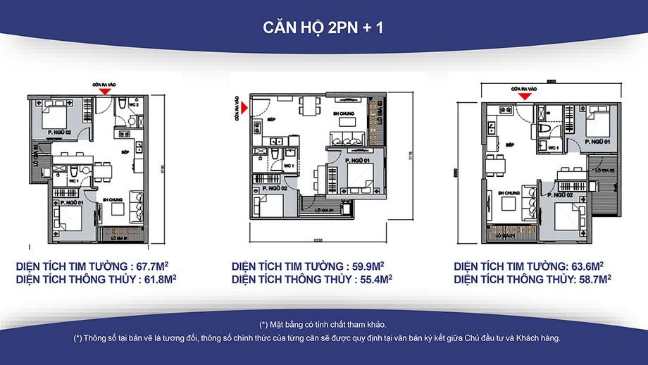Thiết kế nội thất chung cư Căn hộ 2PN +1, 1WC và 2PN+1, 2WC Vinhomes Smart City ( Diện tích từ 55- 70m2)