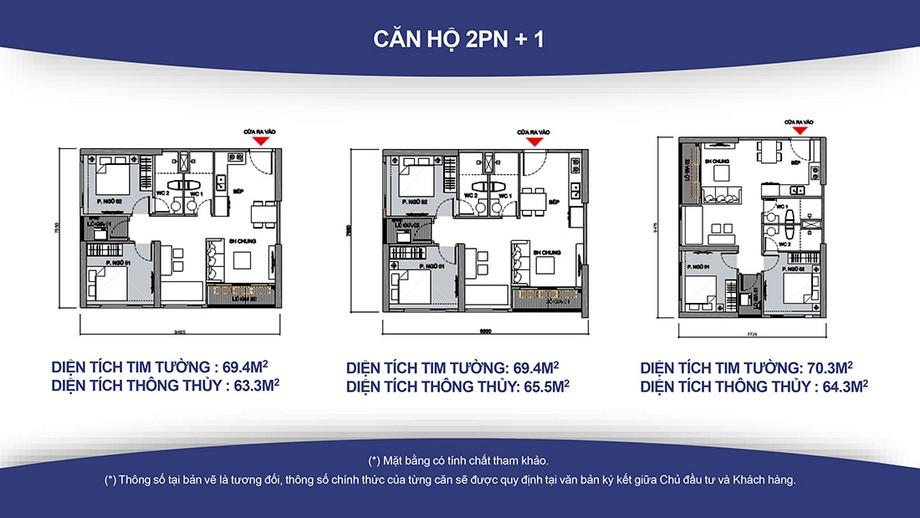Thiết kế nội thất chung cư căn hộ 2PN+1, 2WC