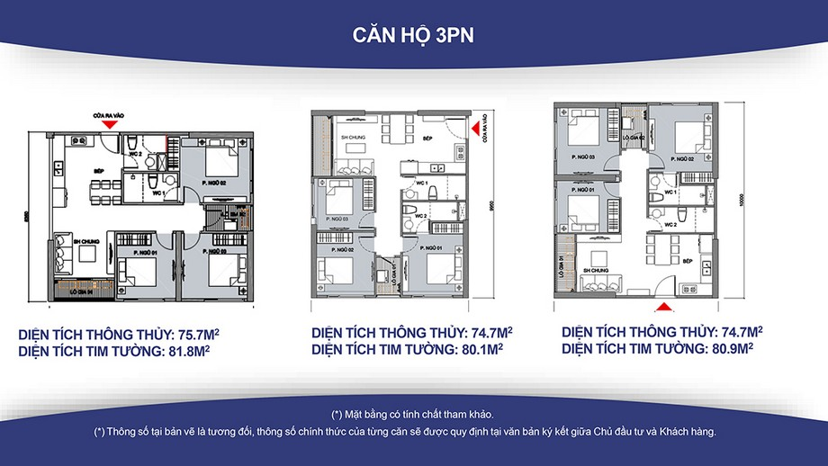 Căn hộ 3 PN Vinhomes Smart City ( Diện tích từ 75- 80m2)