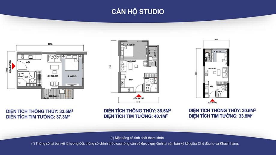 Thiết kế nội thất chung cư Căn hộ Studio, 1WC Vinhomes Smart City ( Diện tích từ 33 – 40m2)
