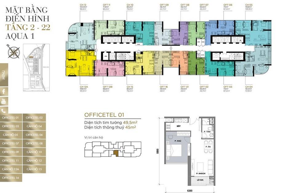 Mặt bằng tầng điển hình tầng 2-22 khu Aqua 1 dự án Vinhomes Golden River