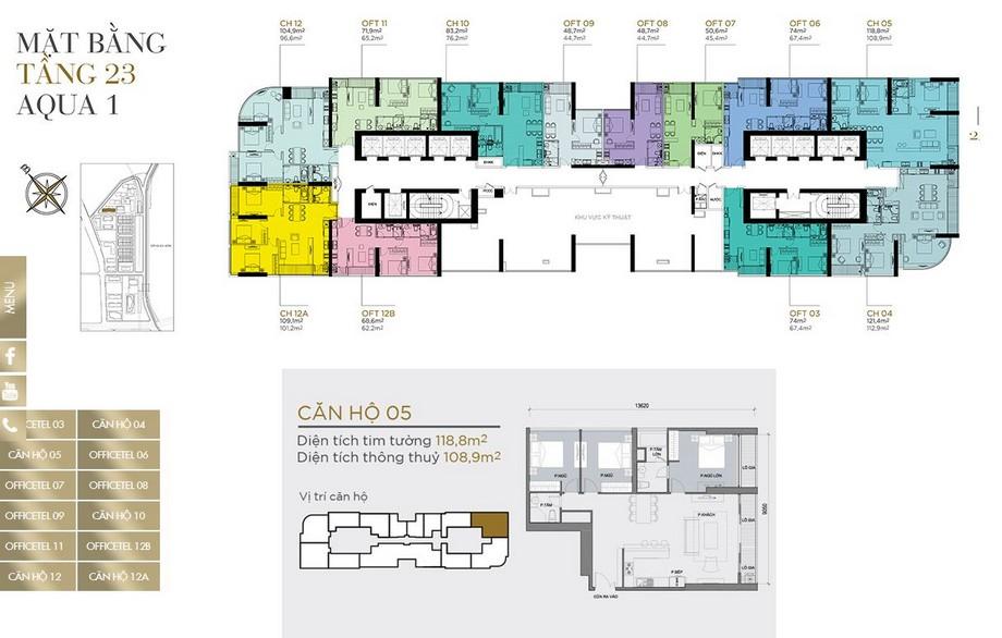 Mặt bằng tầng điển hình tầng 23 khu Aqua 1 dự án Vinhomes Golden River