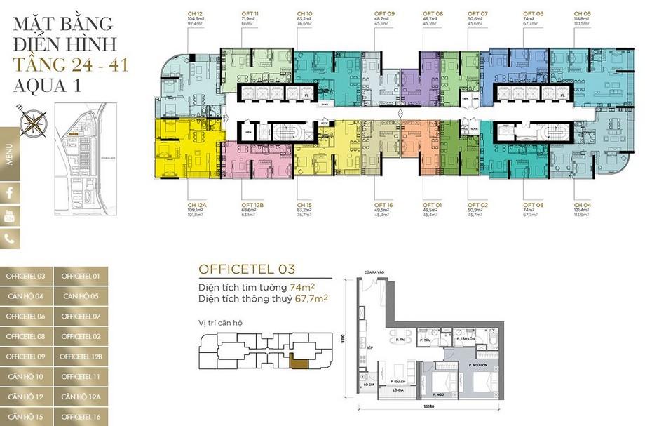 Mặt bằng tầng điển hình tầng 24-41 khu Aqua 1 dự án Vinhomes Golden River