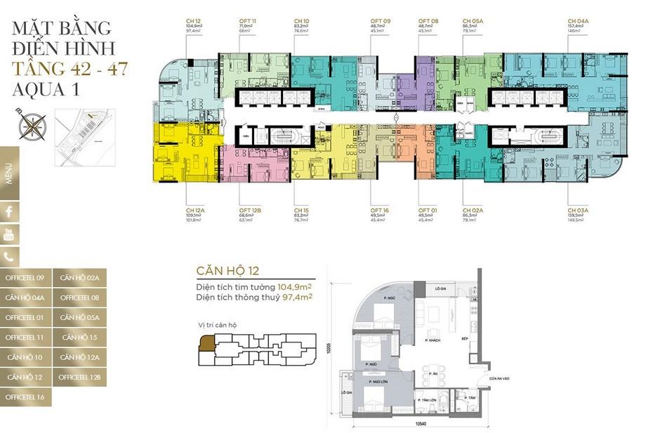 Mặt bằng tầng điển hình tầng 42-47 khu Aqua 1 dự án Vinhomes Golden River