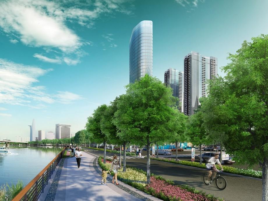Đường dạo ven sông dự án Vinhomes Golden River