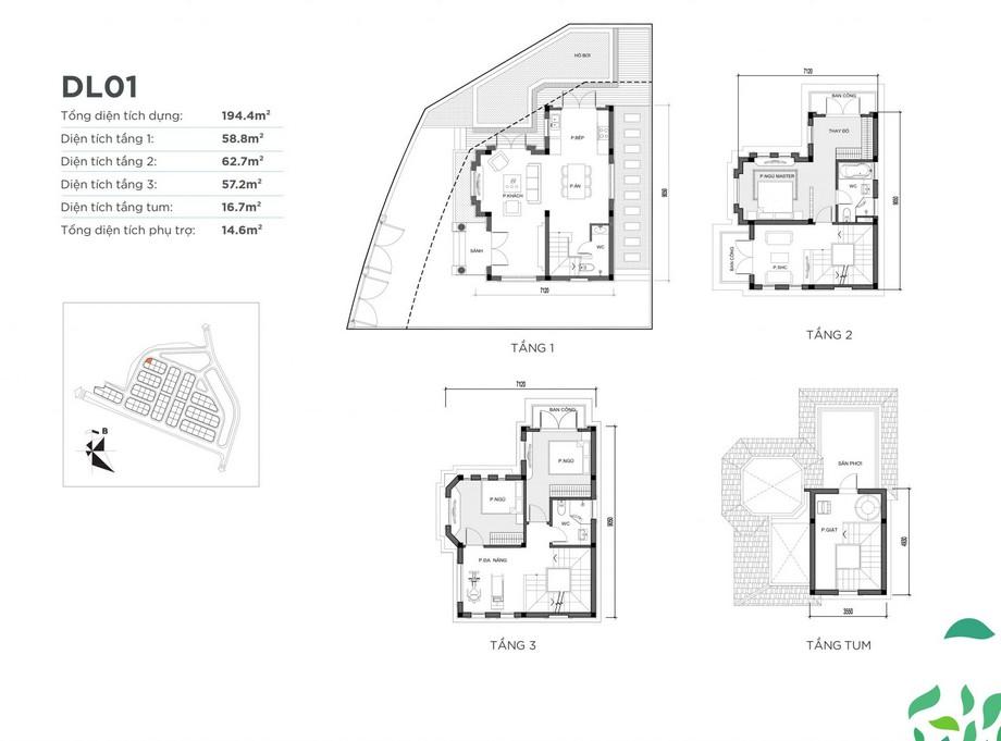 Mặt bằng căn biệt thự DL01 dự án Vinhomes Green Villas
