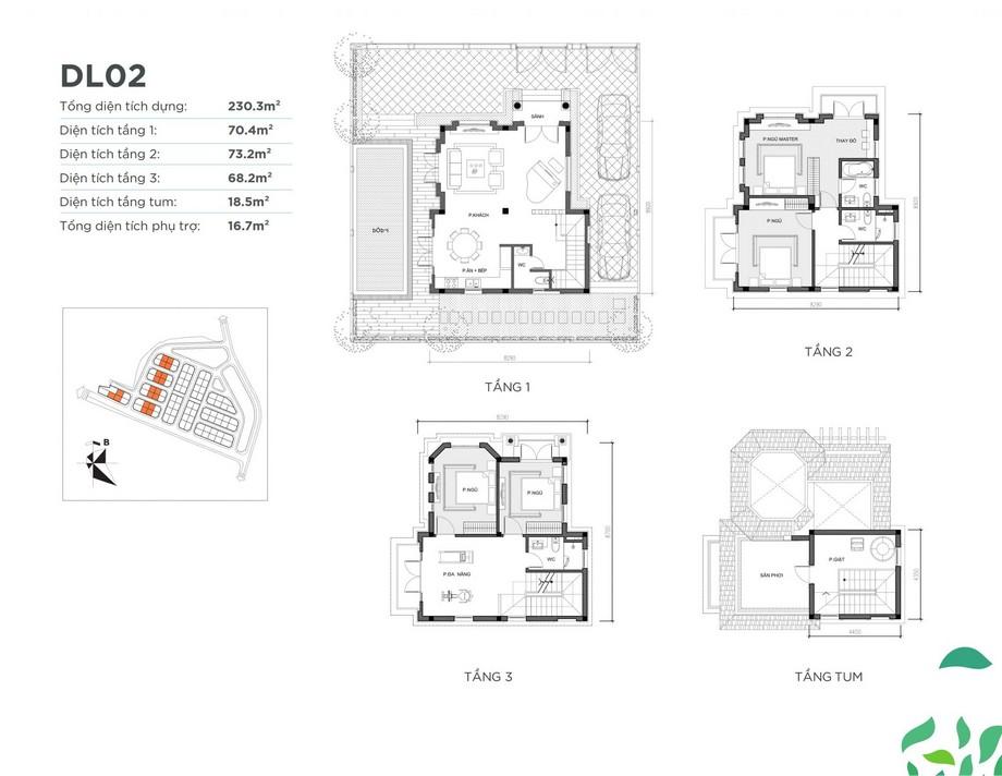 Mặt bằng căn biệt thự DL02 dự án Vinhomes Green Villas