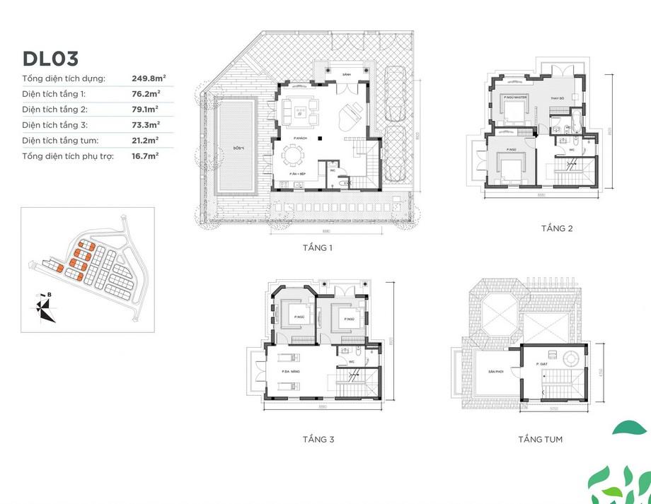 Mặt bằng căn biệt thự DL03 dự án Vinhomes Green Villas