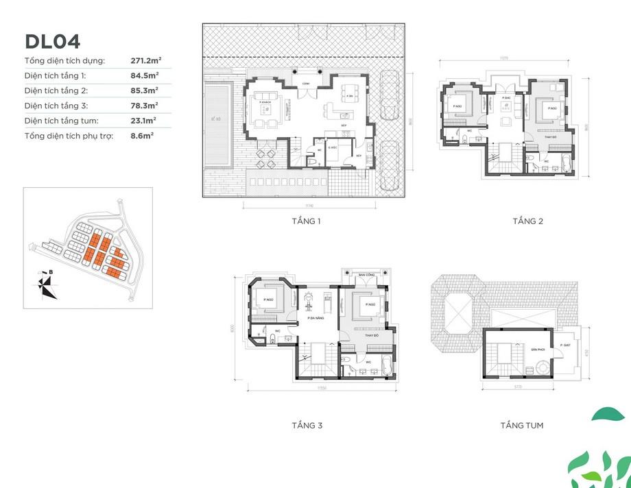 Mặt bằng căn biệt thự DL04 dự án Vinhomes Green Villas