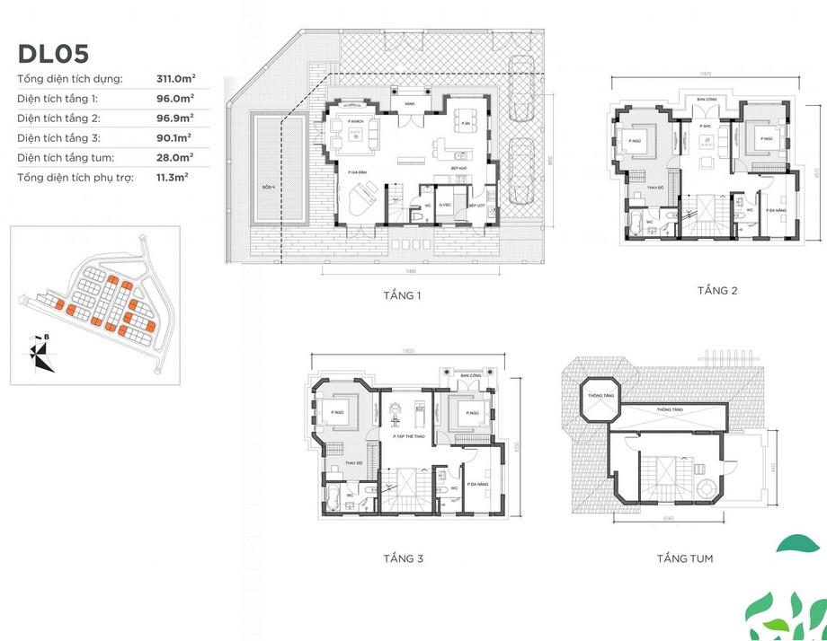 Mặt bằng căn biệt thự DL05 dự án Vinhomes Green Villas