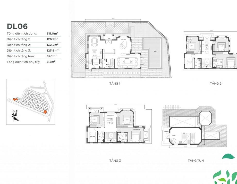 Mặt bằng căn biệt thự DL06 dự án Vinhomes Green Villas