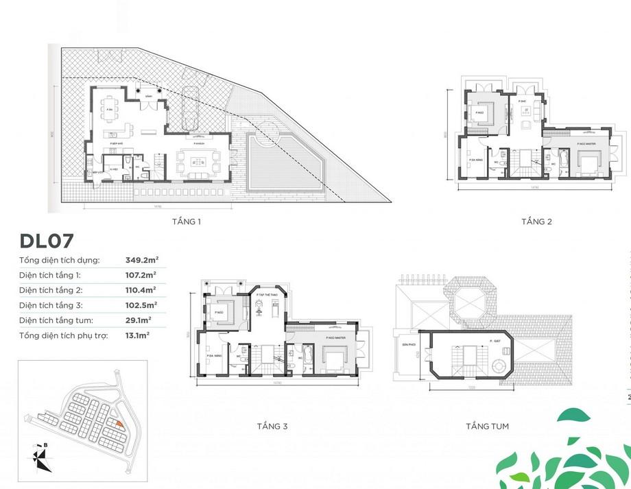 Mặt bằng căn biệt thự DL07 dự án Vinhomes Green Villas